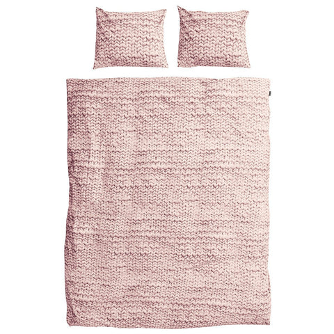 Snurk Quilt Cover Set Knit Pink