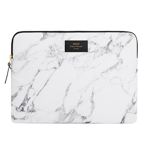 Laptop Sleeve White Marble