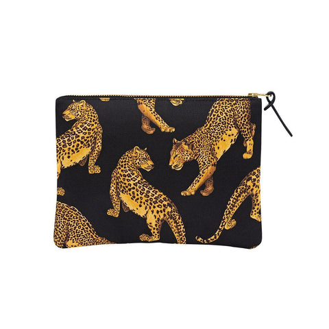 Large Pouch Black Leopard