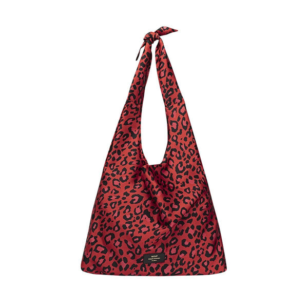 Tote Bag Satin Red Leopard