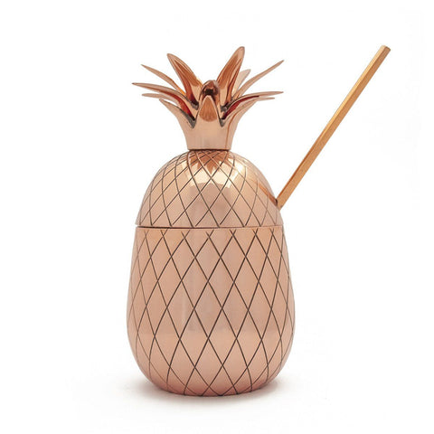Pineapple Large Tumbler With Straw Copper