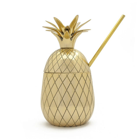 Pineapple Large Tumbler With Straw Gold