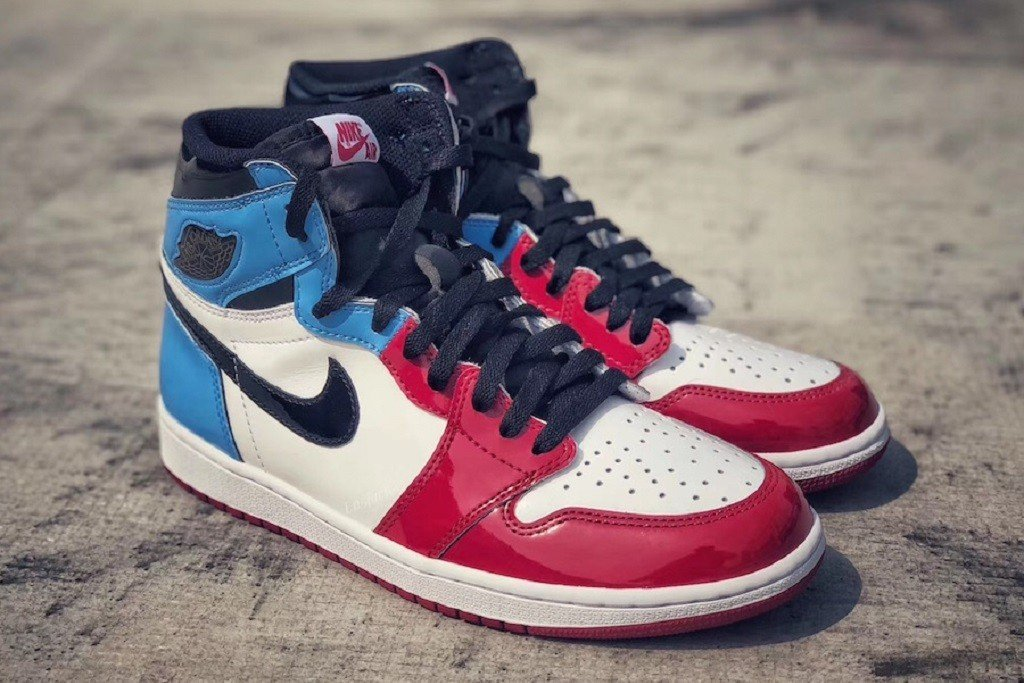 "Jordan blends blue and red into the Air Jordan 1 High OG ""Fearless"" 