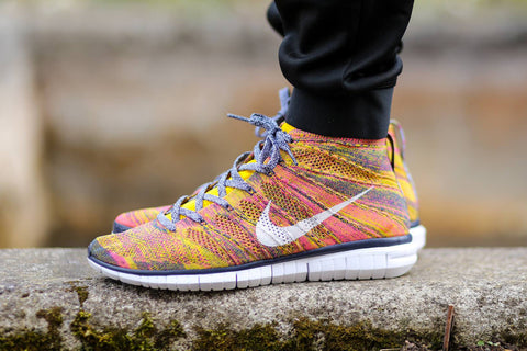 nike flyknit free chukka midnight navy white true yellow