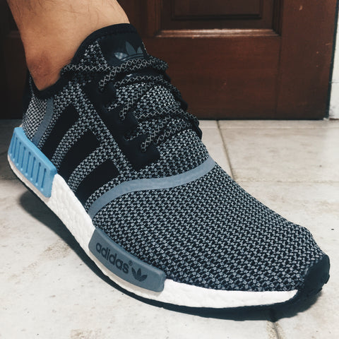 adidas nmd r 1 clear blue with 3m reflective rope laces