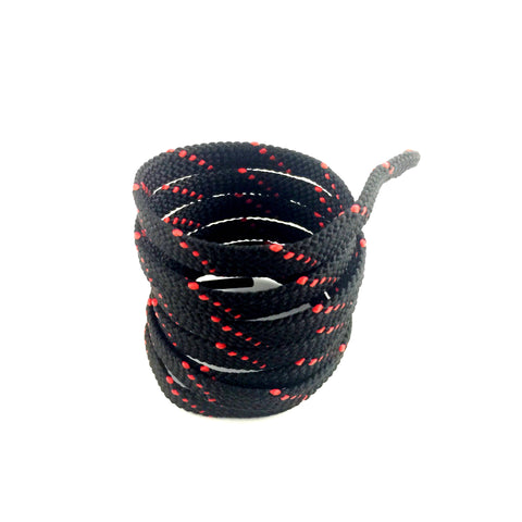 lined flat shoelaces black red