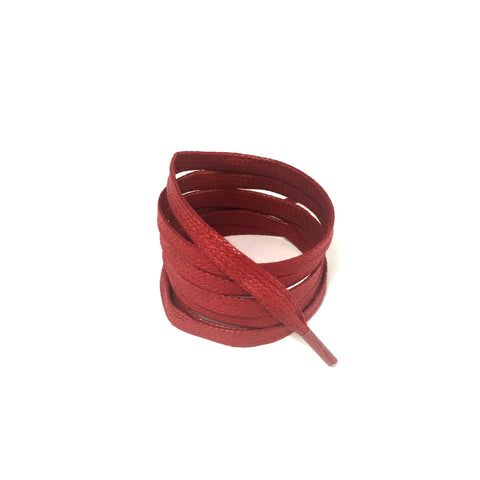 waxed red flat shoelaces