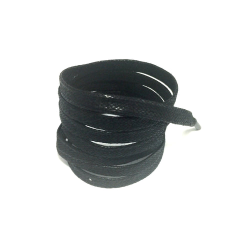 waxed flat shoelaces black