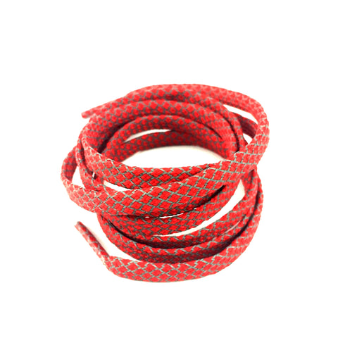 3m reflective flat red shoelaces laces slickieslaces