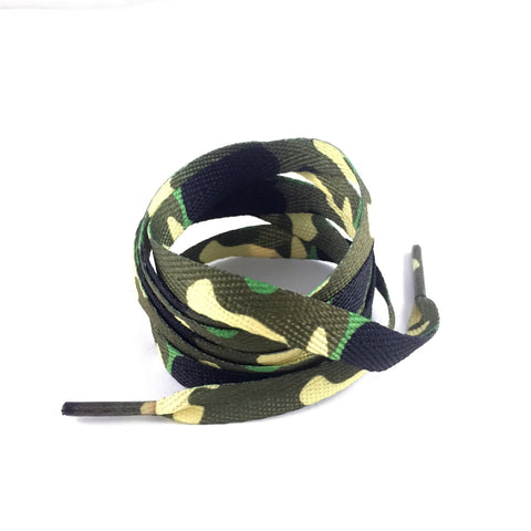 olive green camo laces flat shoelaces