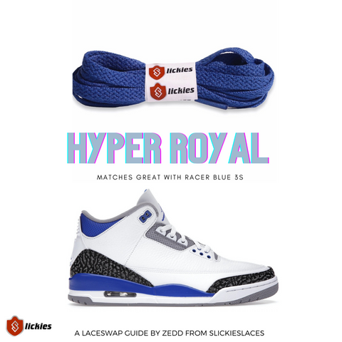 Jordan 3 Racer Blue - Where to buy shoe laces?   By Slickieslaces