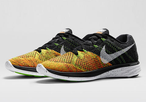 nike flyknit lunar 3 black white electric green total orange