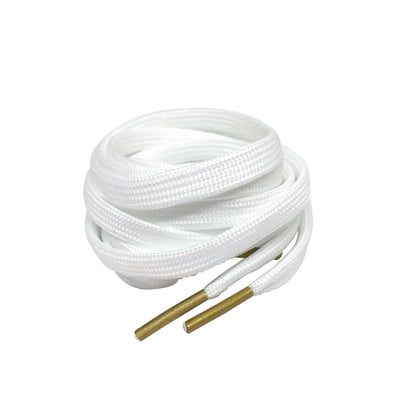 Flat Thin - BASICS Flat 7MM Laces - White With Gold Tips