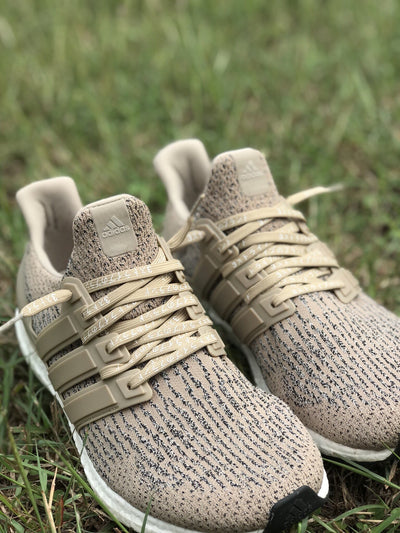 Flat Thin - NMD / Ultra Boost Japanese Katakana Flat Laces - Beige With White Font