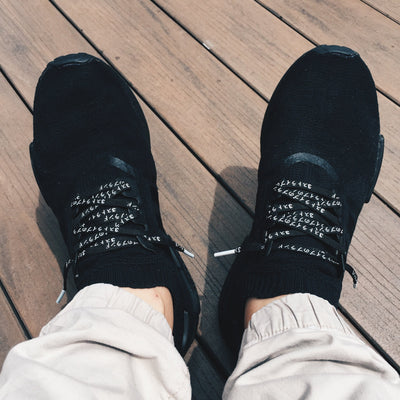 Flat Thin - NMD / Ultra Boost Japanese Katakana Flat Laces - Black With White Font And White Tips