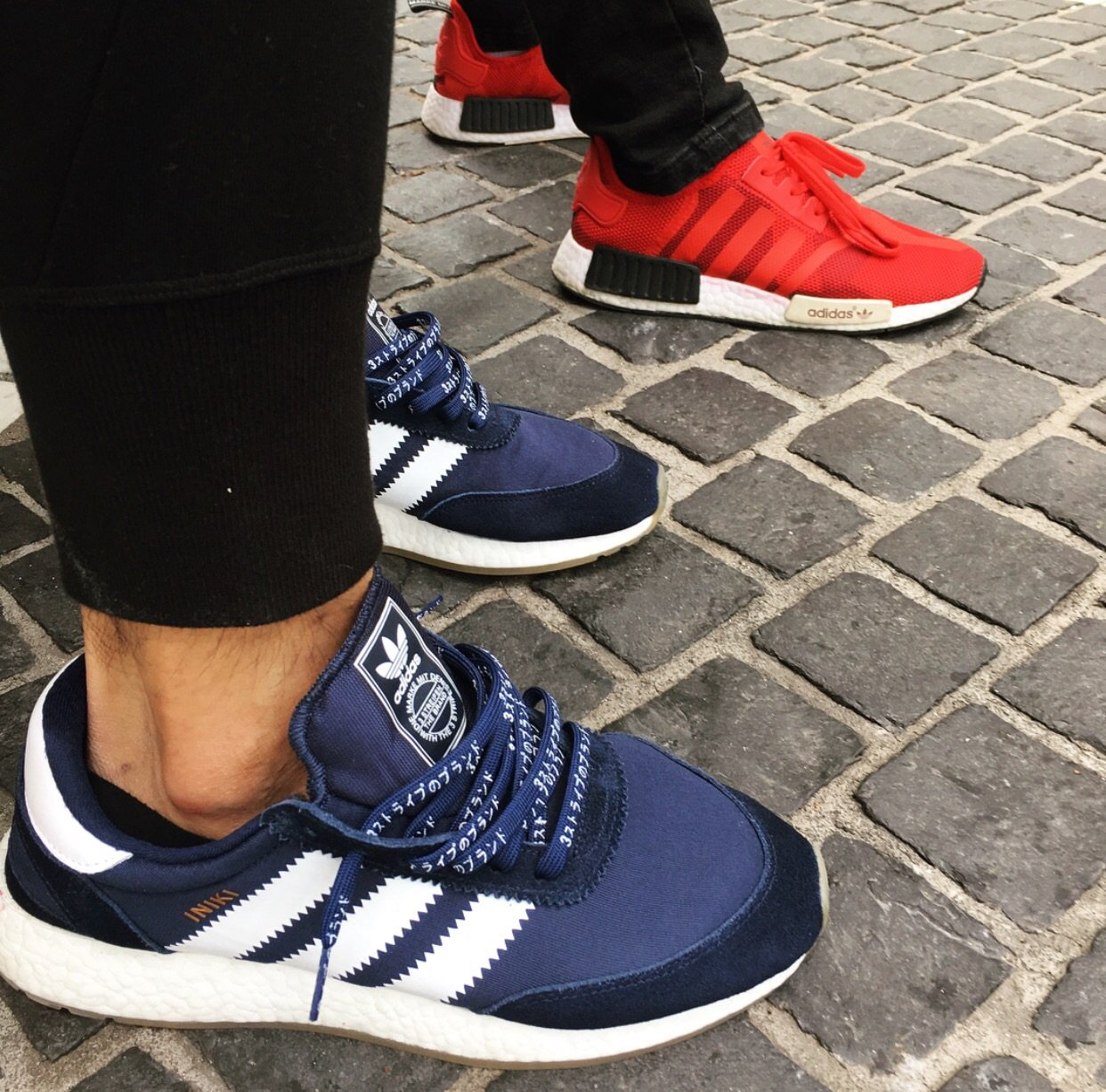 e2d1c396b876b Flat Thin - NMD   Ultra Boost Japanese Katakana Flat Laces - Navy Blue With  White