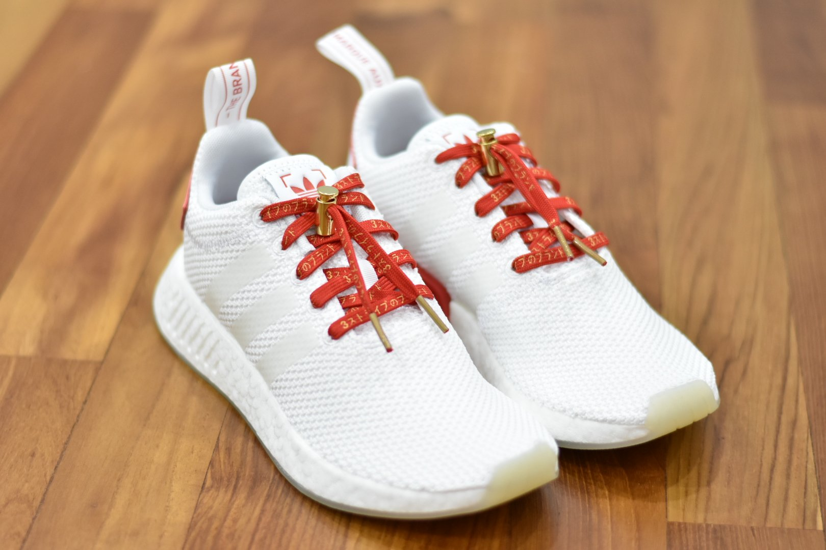 2794519027cc Flat Thin - NMD   Ultra Boost Japanese Katakana Flat Laces - Red With Gold  Font