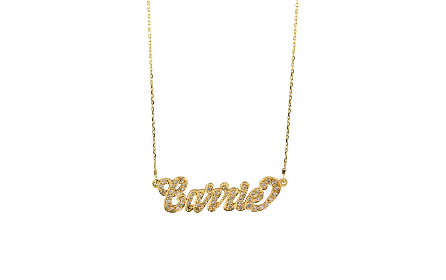 14KT GOLD /& DIAMOND NAME PLATE NECKLACE 18 INCHES NAME PLATE NECKLACE