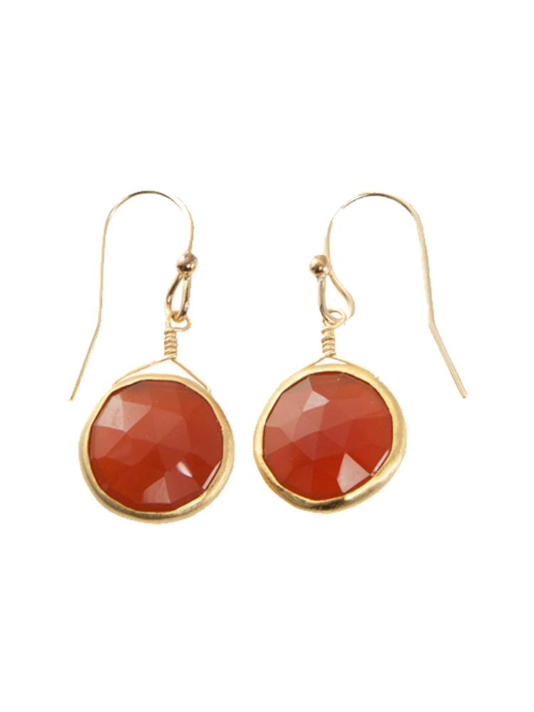round carnelian station. vermeil earrings