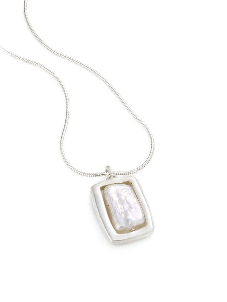 square with pearl. necklace