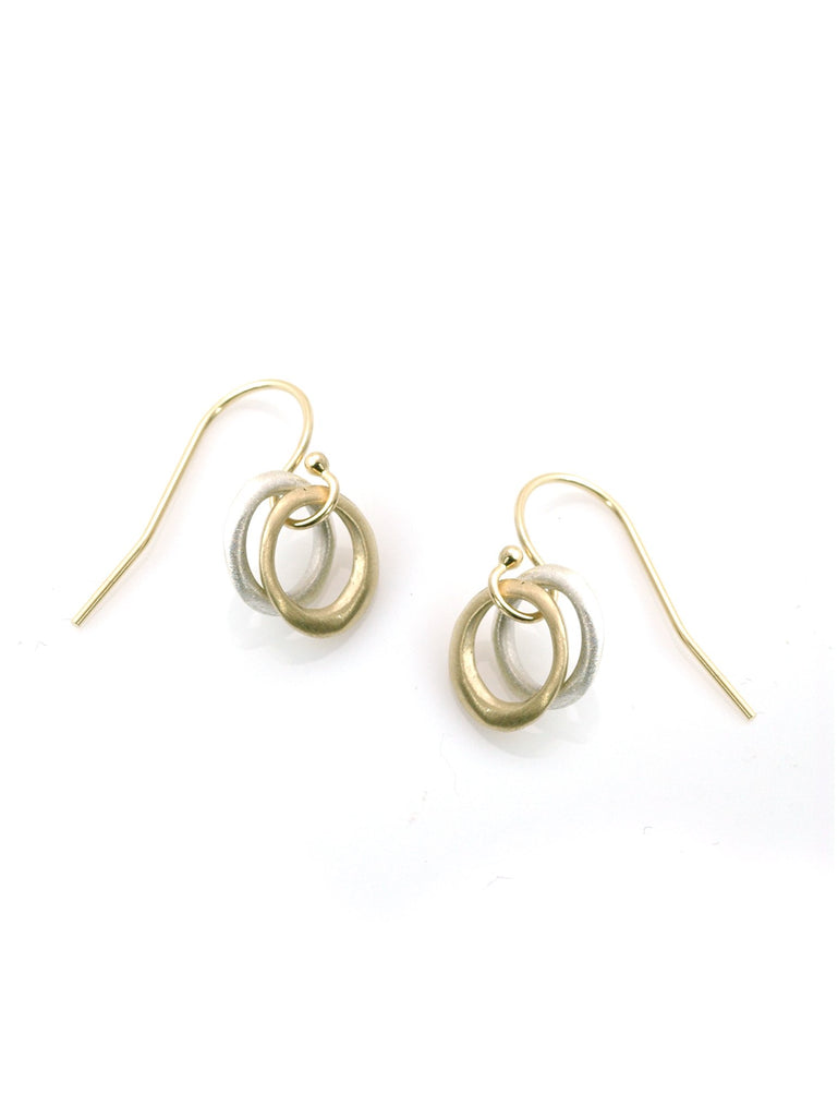 mixed metal 14k and silver circle earring