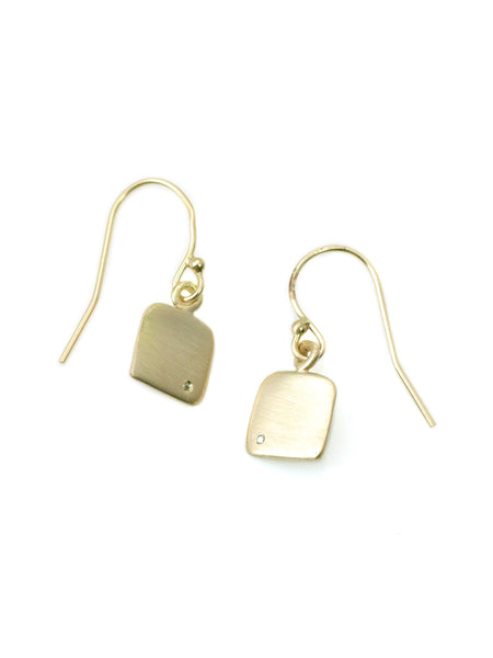 14k square with 0.75mm diamond earring