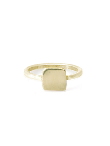 14k square charm on 14k gold ring band
