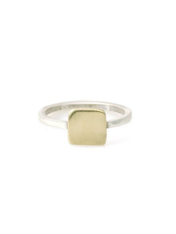 14k square charm on silver ring band