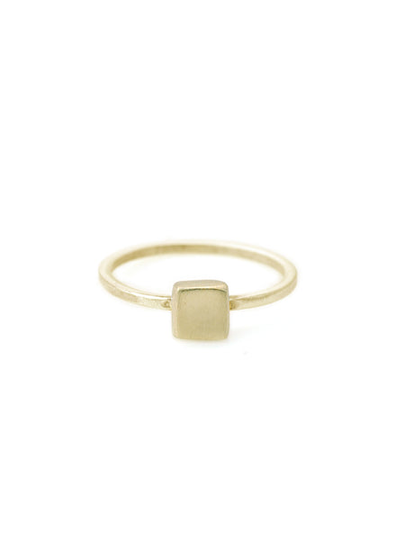 14k small square charm on 14K gold ring band