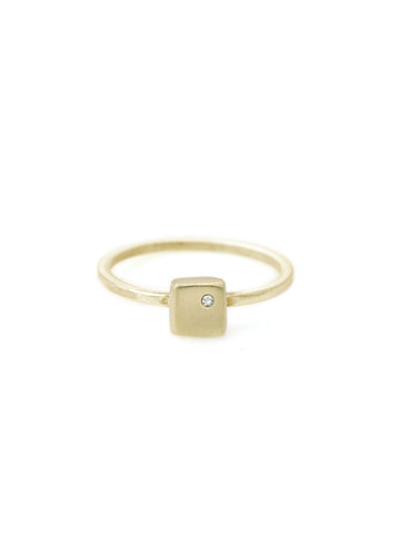 14k small square charm w. 1mm diamond on 14K ring band