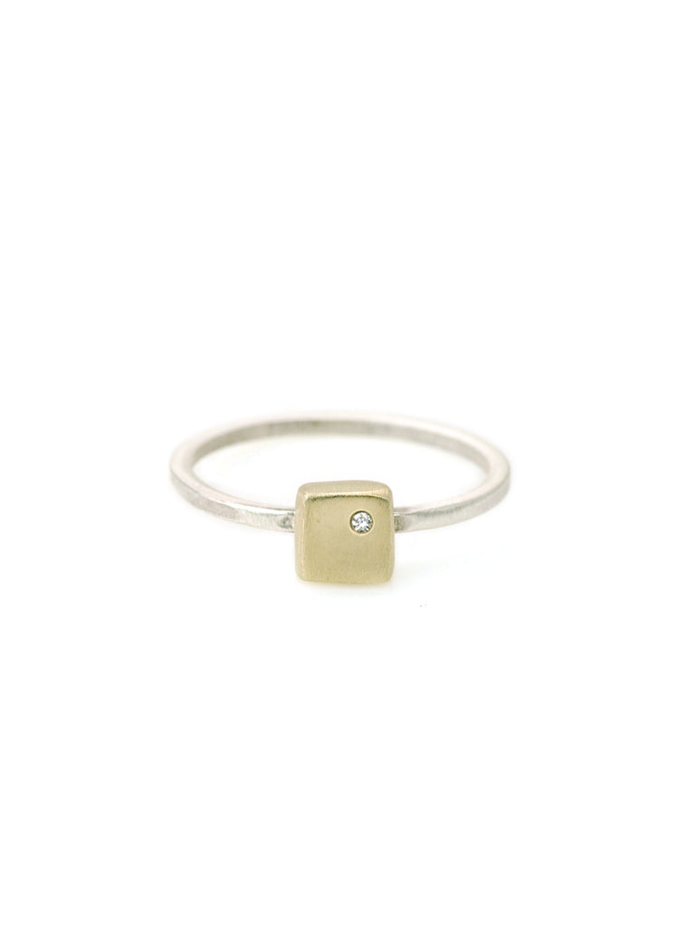 14k small square charm w. 1mm diamond on silver ring band