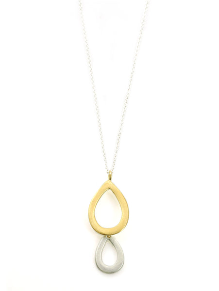 double small drop. silver & vermeil necklace