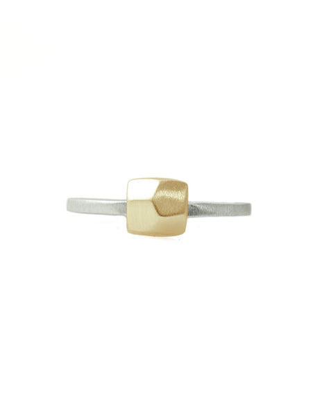 14k faceted square charm on silver ring band