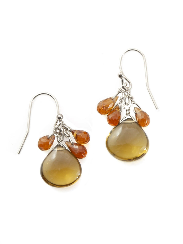 whiskey quartz w. carnelian cluster. silver earrings