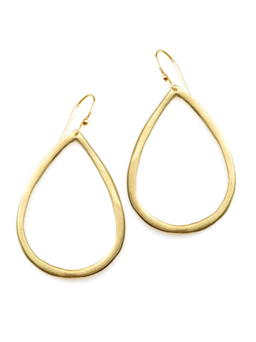 open tear drop. vermeil earrings