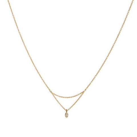 sweeping charm necklace with diamond, 14k, 16