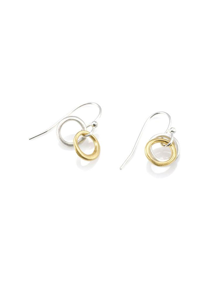 two little circles. mixed metals earring
