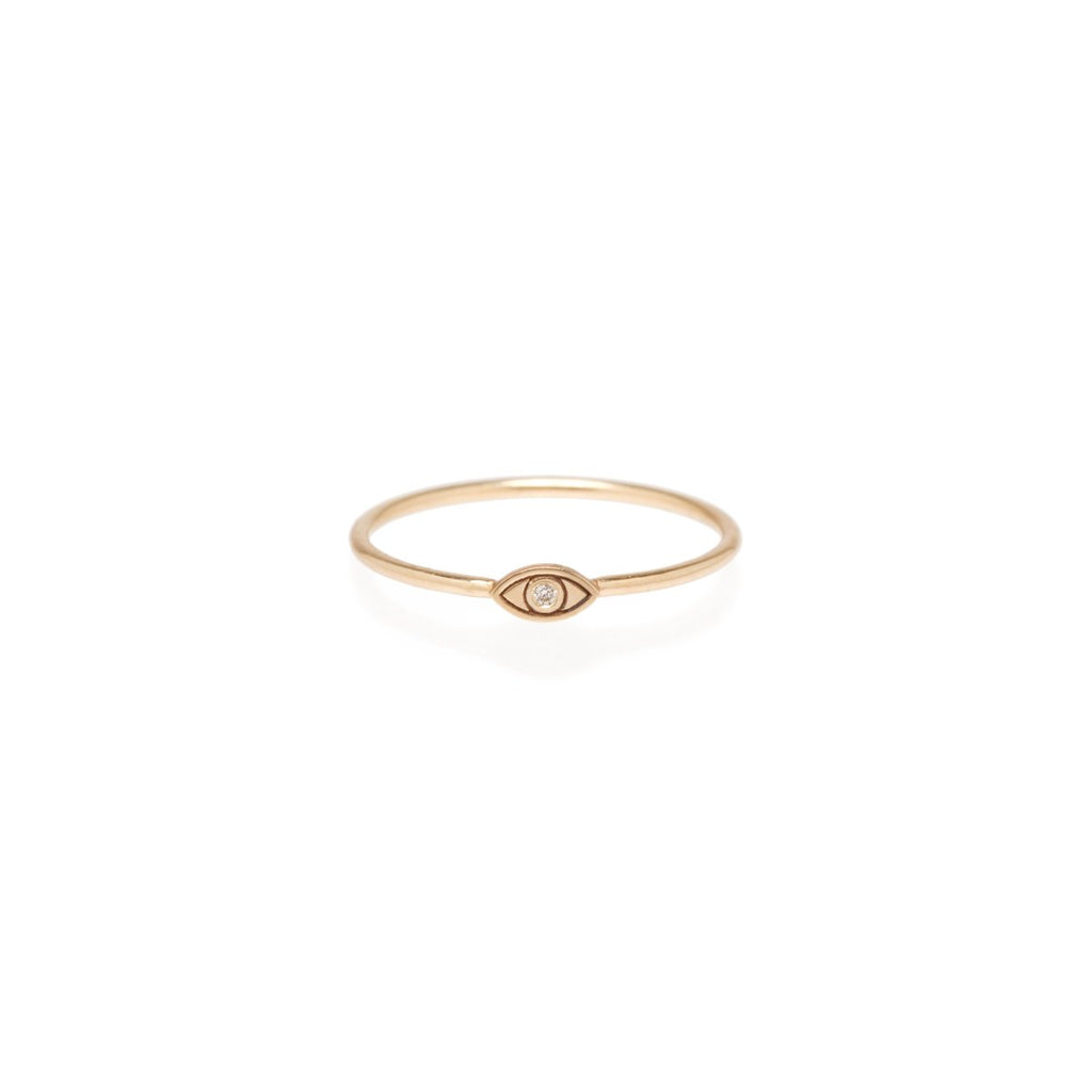 14k Itty Bitty Evil Eye Stack Ring with Diamond