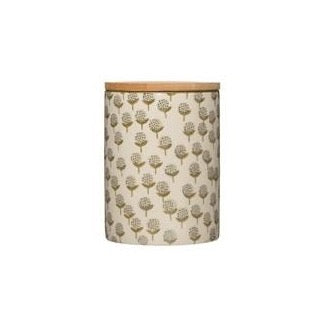 Floral Canister With Bamboo Lid