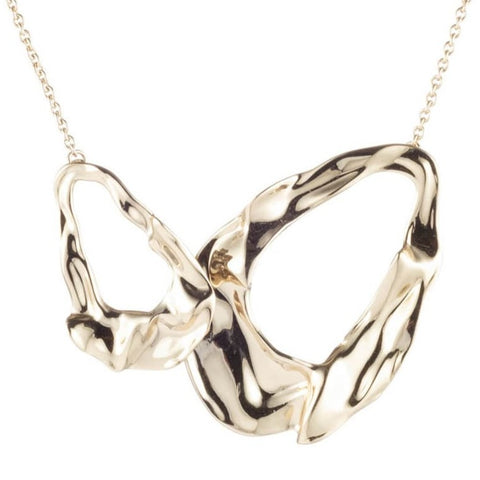 Crumpled Gold Link Necklace