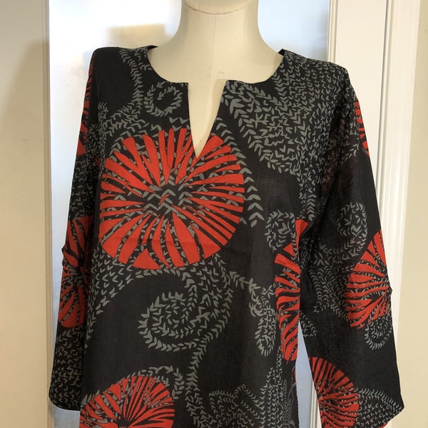 Black Red Medallion Tunic