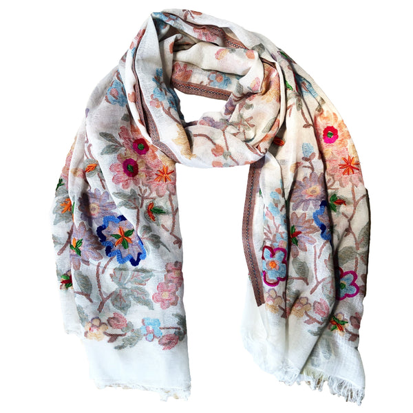 Embroidered Flowers Scarf
