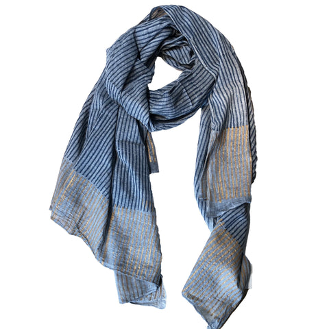 Grey and Gold Stripe Scarf