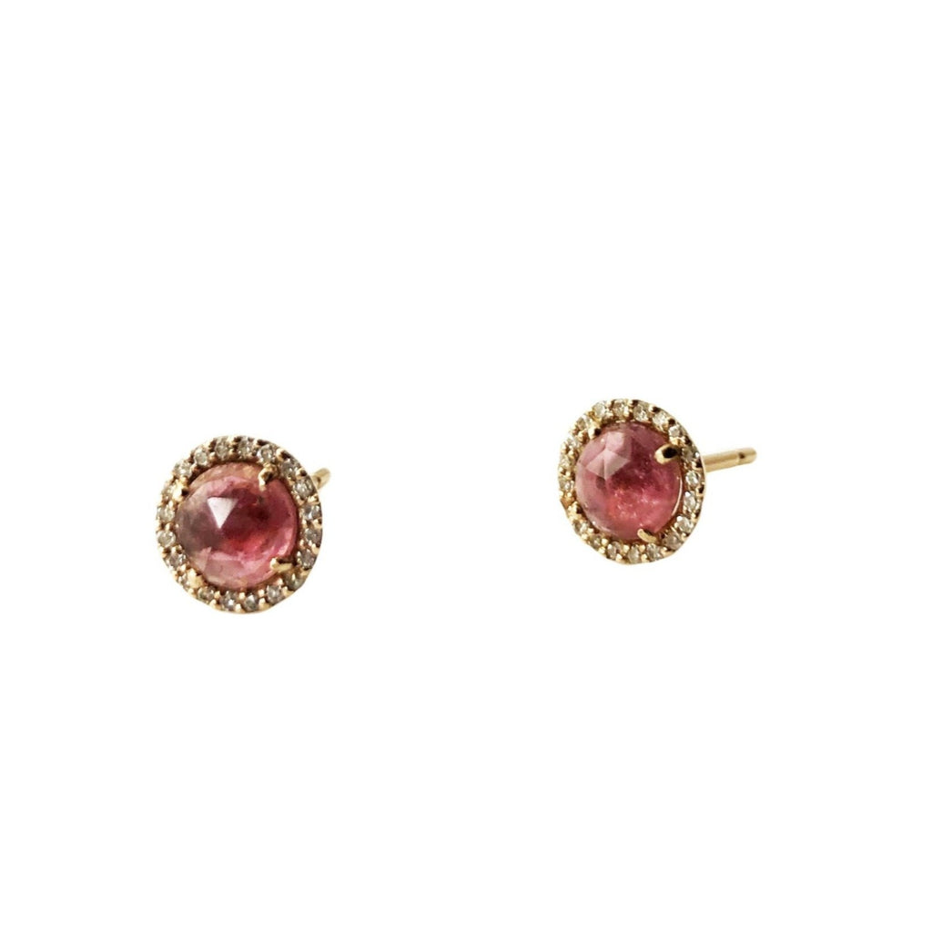 Pink Tourmaline Halo Post Earring