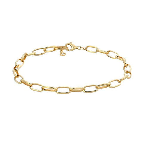 Oval Solid Chain Link Bracelet with Bezel Diamond