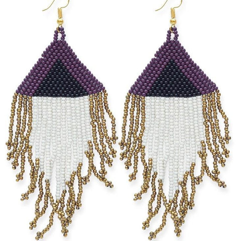 Port Ivory Black Gold Fringe Earrings