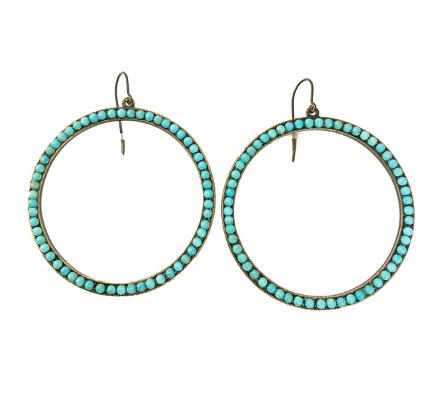 Large Turquoise Circle Earrings