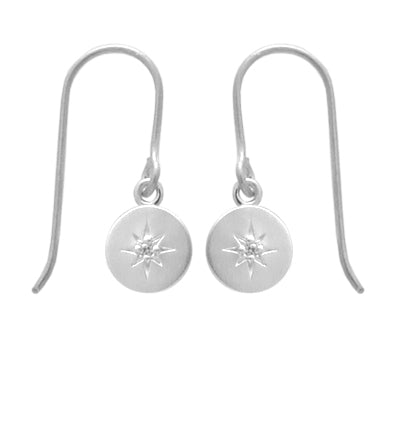Star Set CZ Circle Earring in Brushed Silver