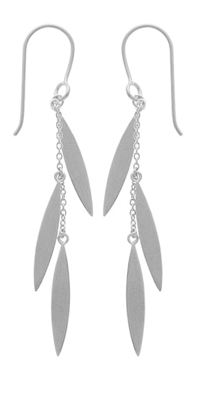 Triple Marquis Earring in Brushed Silver