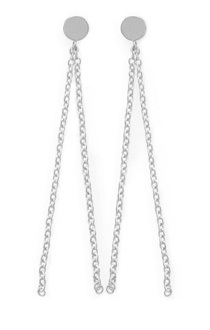 Dot Stud with Hanging Chains in Silver